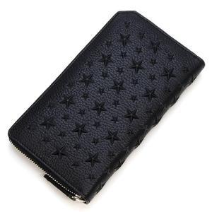 ジミーチュウ ラウンドファスナー長財布(小銭入れ付き) メンズ JIMMY CHOO スターエンボス・グレイニーレザー ブラック CARNABY EMG BLACK|grande-tokyo
