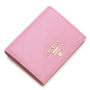 プラダ 2つ折り財布(小銭入れ付き) レディース PRADA ピンク 1MV204 QWA F0442 SAFFIANO METAL PETALO|grande-tokyo