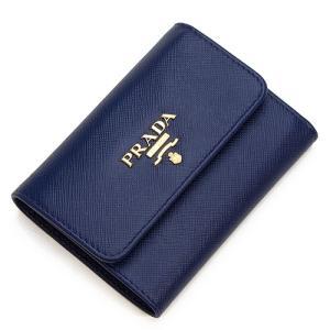 プラダ 3つ折り財布(小銭入れ付き) レディース PRADA ブルー 1MH840 QWA F0016 SAFFIANO METAL BLUETTE|grande-tokyo