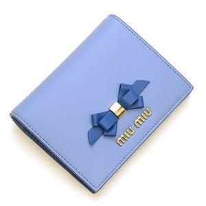 ミュウミュウ MIUMIU 2つ折り財布(小銭入れ付き) ペールブルー/コバルトブルー 5MV204 2B61 F0RFK CALF FIOCCO ASTRALE+COBALTO|grande-tokyo