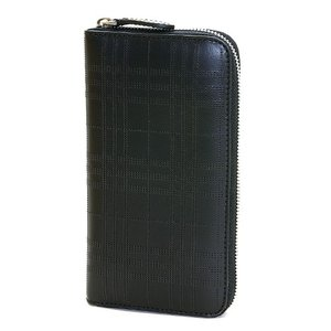 7ad031942a7d バーバリー ラウンドファスナー長財布(小銭入れ付き) メンズ BURBERRY ブラック パーフォレーテッドチェック レザー LG ZIG  8005960 A1189 BLACK