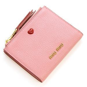 ミュウミュウ 2つ折り財布 レディース MIUMIU ローズピンク 5ML024 2BC3 F0028 MADRAS LOVE ROSA|grande-tokyo