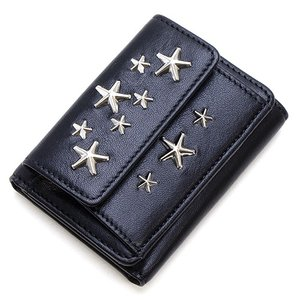 ジミーチュウ 3つ折り財布(小銭入れ付き) レディース JIMMY CHOO スタースタッズ付き レザースモールウォレット ブラック NEMO CST BLACK|grande-tokyo