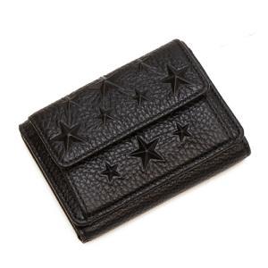 ジミーチュウ 3つ折り財布(小銭入れ付き) レディース JIMMY CHOO スターエンボス グレイニーレザースモールウォレット ブラック NEMO EMG BLACK|grande-tokyo