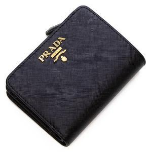 プラダ 2つ折り財布(小銭入れ付き) レディース PRADA ブラック 1ML018 QWA F0002 SAFFIANO METAL NERO|grande-tokyo