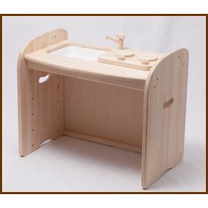 木遊舎 ひのきキッチンテーブル 送料無料(メーカー直送)(白木) 【木のおもちゃ】|grande0606