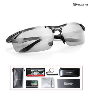 Glazata 変色調光サングラス 偏光レンズ ハーフフレーム 超軽量 UV400 紫外線カット 偏光サングラス 自転車/釣り/野球/テニス/スキー/ランニング/ゴルフ/|grandmano-omise