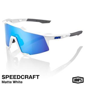 【あすつく対応】100%(ワンハンドレッド) 61001-407-01 サングラス SPEEDCRAFT Matte White - HiPER Blue Multilayer Mirror Lensの画像