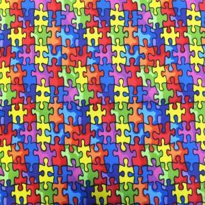 Autism Awareness Puzzle Pieces (USAコットン 生地 布)|granny