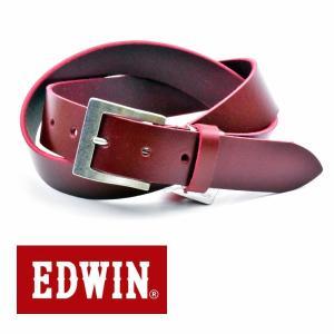 ベルト メンズ 本革 一枚革 カジュアル サイズフリー 大特価 EDWIN エドウィン 本革ベルト レッド 020120 牛革  メンズベルト  男性 プレゼント|grans
