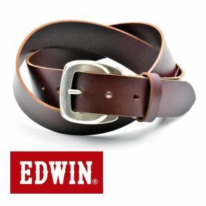 ベルト メンズ 本革 一枚革 カジュアル サイズフリー 大特価 EDWIN エドウィン 本革ベルト ダークブラウン DarkBrown 020128 プレゼント|grans