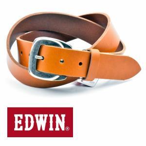 ベルト メンズ 本革 一枚革 カジュアル サイズフリー 大特価 EDWIN エドウィン 本革ベルト ブラウン Brown 020129 牛革  メンズ プレゼント|grans