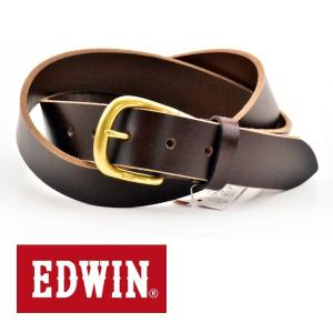 ベルト メンズ 本革 一枚革 カジュアル サイズフリー 大特価 EDWIN エドウィン 本革ベルト ダークブラウン DarkBrown 020130 プレゼント|grans