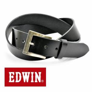 ベルト メンズ 本革 一枚革 カジュアル サイズフリー 大特価 EDWIN エドウィン 本革ベルト ブラックBlack 020135 牛革  メンズ プレゼント|grans