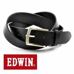 ベルト メンズ 本革 一枚革 カジュアル サイズフリー 大特価 EDWIN エドウィン 本革ベルト ブラックBlack 020137 牛革  メンズ クリスマス ギフト|grans