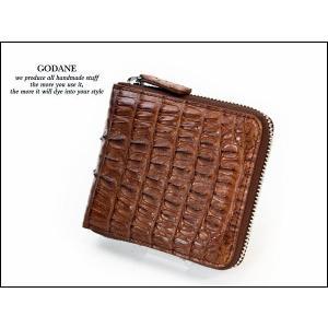 ゴダン 財布 GODANE メンズ 二つ折り ファスナー 薄い ワニ革ラウンドファスナーウォレット ミニ カイマンクロコダイル短財布 折財布 spcw8002cpbr|grans