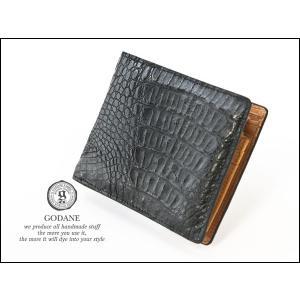 GODANE (ゴダン) ワニ革レザーウォレット・ミニ カイマンクロコダイル短財布 spcw8007cpbk ブラック/黒