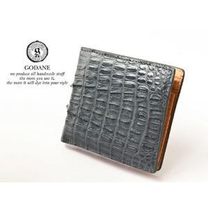 ゴダン 財布 長財布 GODANE メンズ 二つ折り 薄い ビジネス かっこいい カイマンクロコダイル 折財布 spcw8009cp SteelGray スチールグレイ グレー|grans