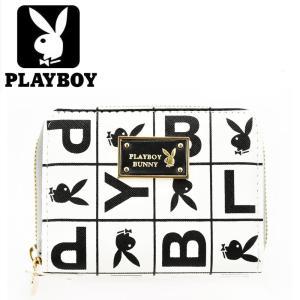 PLAYBOYプレイボーイ財布二つ折財布2つ折り札入PBMS-1360ホワイト白メンズ財布レディース財布短財布誕生日プレゼント|grans