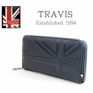 トラビス 財布 TRAVIS メンズ レディース ユニオンジャック ラウンドファスナー ウォレット 11901162 ネイビー メンズ長財布|grans