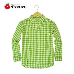 農家さんブラウスNSR-515 チェック(グリーン) ユニワールド|grantomato