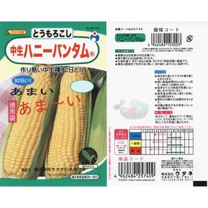 【ウタネ】ハニーバンタム(L)(トウモロコシ) 35ml 野菜種子 小袋 【取寄商品】【ゆうパケット可】 grantomato