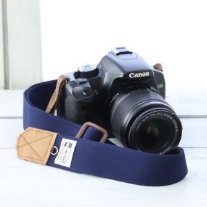 ミーナ 一眼レフ用 ミラーレス一眼用 帆布カメラストラップ 調節タイプ 幅3.5cm (ネイビー)