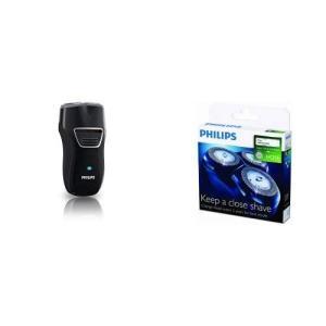 [セット販売]フィリップス ポータブルシェーバー メンズ電気シェーバー 充電式 ブラック PQ220...