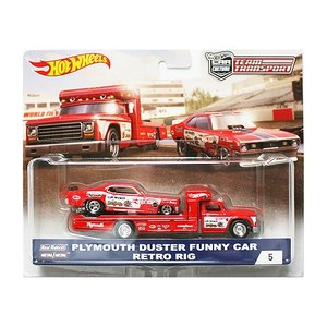 Hot Wheels Team Transport:1972 Plymouth Duster Funny Car & Retro Rig (プリムス・ダスター)(レッド)|grease-shop