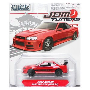 Jada Toys 1/64 : 2002 Nissan Skyline GT-R(R34) (ニッサン・スカイラインGT-R)(レッド/ブラック)|grease-shop