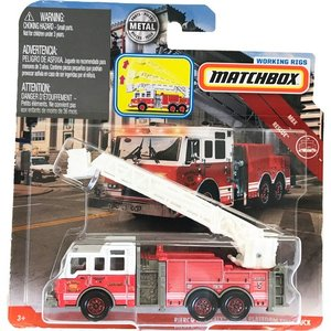 matchbox working rigs:ピアース・ヴェロシティ・エアリアル・ファイヤートラック(Pierce Velocity Aerial Platform Fire Truck)(レッド/ホワイト)|grease-shop
