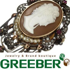 アンティーク ダイヤ ダイヤモンド カメオ 逸品ブローチ  GENJ  超大幅値下げ品|greeber01