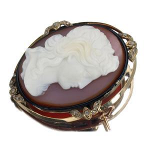 アンティーク 女性像 ストーンカメオ ダイヤ ダイヤモンド ブローチ  GENJ   超大幅値下げ品|greeber01
