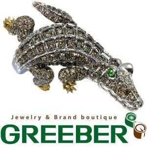 ワニ クロコダイル ダイヤ ダイヤモンド 2.10ct ガーネット 0.15ct 指輪 K18WG/YG GENJ greeber01