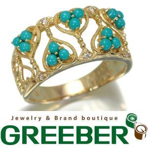 ヴィクトリアンズゲート リング 指輪 ダイヤ ダイヤモンド ターコイズ トルコ石 K18YG 14号BLJ/GENJ|greeber01