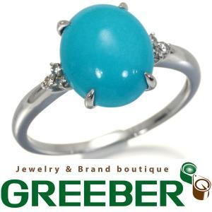 ターコイズ トルコ石 4.00ct ダイヤ 指輪 K18WG ソーティングメモ GENJ|greeber01