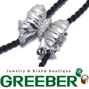 レポシ ループタイ ネックレス ダイヤ ダイヤモンド 0.17ct リボン K18WG 保証書BLJ/GENJ|greeber01
