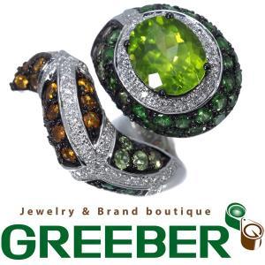 ペリドット 6.30ct ガーネット シトリン ダイヤ ダイヤモンド 0.45ct スネーク 蛇 指輪 K18WG GENJ  超大幅値下げ品|greeber01