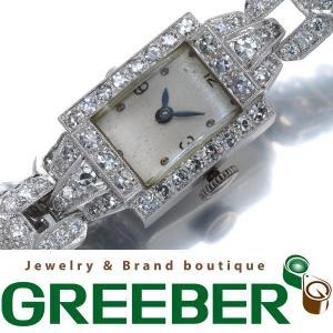 ダイヤ ダイヤモンド 4.20ct K18WG アンティーク 腕時計 手巻き レディース K18WG GENJ  超大幅値下げ品|greeber01