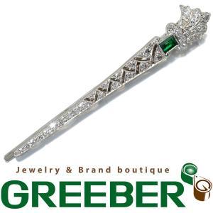 エメラルド ダイヤ ダイヤモンド タイピン アンティーク プラチナ/WG GENJ  超大幅値下げ品|greeber01