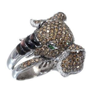 ダイヤ ダイヤモンド 4.52ct グリーンガーネット 0.10 シェル 1.50ct 指輪 象 ゾウ K18WG 鑑別書 GENJ  超大幅値下げ品 greeber01