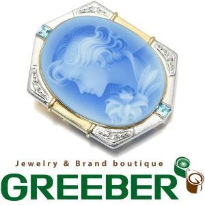 シュミット カメオ ブローチ トパーズ ダイヤ ダイヤモンド K18YG/Pt900/プラチナ GENJ|greeber01
