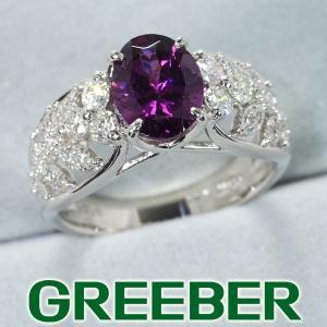 極上パープル ロードライトガーネット 2.10ct ダイヤ ダイヤモンド 0.50ct リング 指輪 Pt900/プラチナ GENJ greeber01