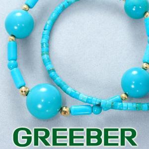 ターコイズ トルコ石 ネックレス K18YG GENJ|greeber01