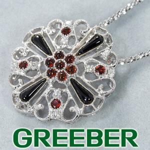 ガーネット 0.63ct オニキス ダイヤ ダイヤモンド 0.12ct ネックレス K18WG GENJ 超大幅値下げ品 greeber01