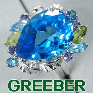 ブルートパーズ 14.96ct/1.55ct ペリドット アメジスト リング 指輪 K18WG ソーティング GENJ|greeber01