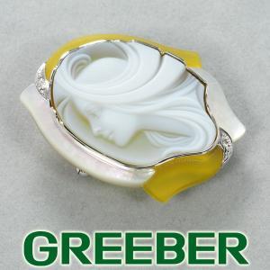 エルヴィンポーリー ブローチ兼ペンダントトップ カメオ ダイヤ ダイヤモンド シェル K18WG 箱/保証書 BLJ/GENJ|greeber01