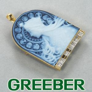 ミュシャ ブローチ兼ペンダントトップ カメオ ダイヤ ダイヤモンド 黄道十二宮  K18YG/Pt900/プラチナ GENJ|greeber01