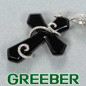 オニキス 20.12ct ダイヤ ダイヤモンド 0.63ct クロス ネックレス K18WG GENJ 超大幅値下げ品|greeber01