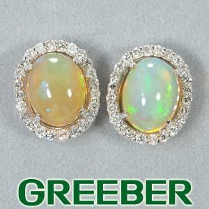 オパール 1.16ct/1.41ct ダイヤ ダイヤモンド 0.20ct/0.20ct ピアス K18WG GENJ  限界値下げ品 greeber01